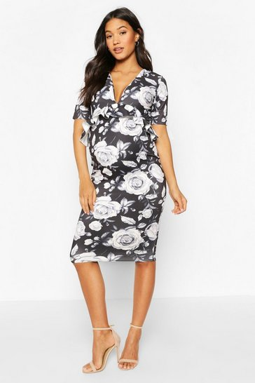 Black Maternity Rose Print Midi Dress