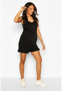 Black Maternity Button Through Playsuit