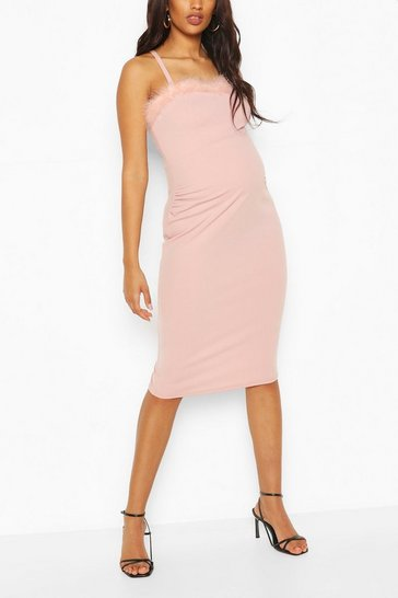 Pink Maternity Feather Trim Midi Bodycon Dress