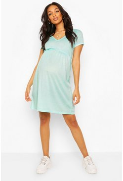Aqua Maternity Ribbed Smock Dress