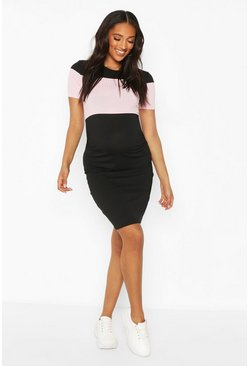 Black Maternity Block Panel Midi Dress