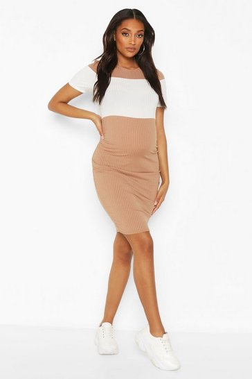 Taupe Maternity Block Panel Midi Dress