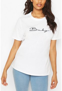 White Maternity Baby Embroidered T-Shirt