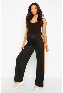 Black Maternity Wide Leg Stripe Trouser