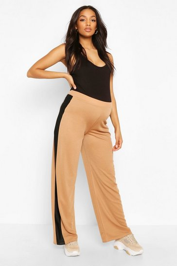 Camel Maternity Wide Leg Stripe Trouser