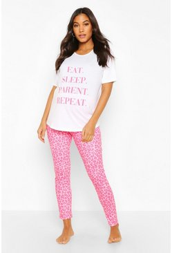 Pink Maternity Eat Sleep Repeat PJ Set