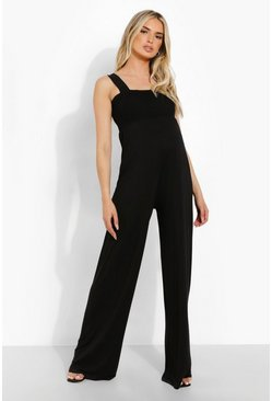 Black Maternity Shirred Wide Leg Jumpsuit