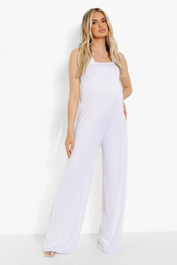 White Maternity Shirred Wide Leg Jumpsuit