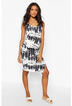 Navy Maternity Tie Dye Midi Dress