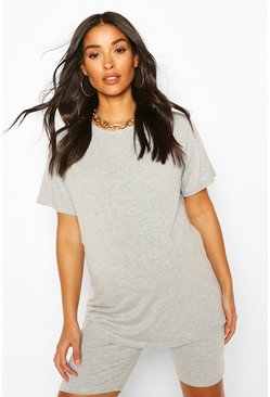 Grey marl Maternity Oversized T-Shirt & Short Lounge Set