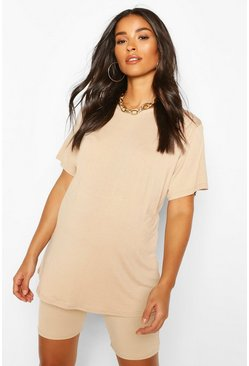 Maternity Oversized T-Shirt & Short Lounge Set, Stone
