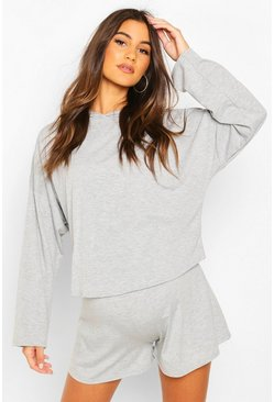 Grey marl Maternity Slouchy Hooded Lounge Set