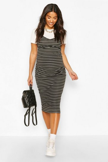 Black Maternity Stripe 2 In 1 Dress