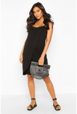 Black Maternity Nursing Cross Over Front Midi Dress