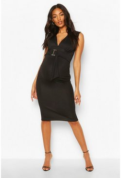 Black Maternity V Neck Tie Detail Midi Dress