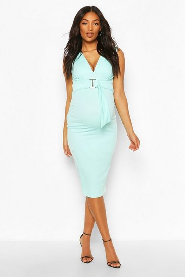 Mint Maternity V Neck Tie Detail Midi Dress