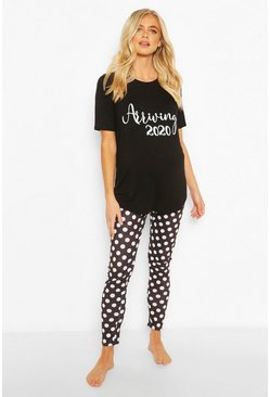 "Black Maternity 'Arriving 2020"""" PJ Trouser Set"