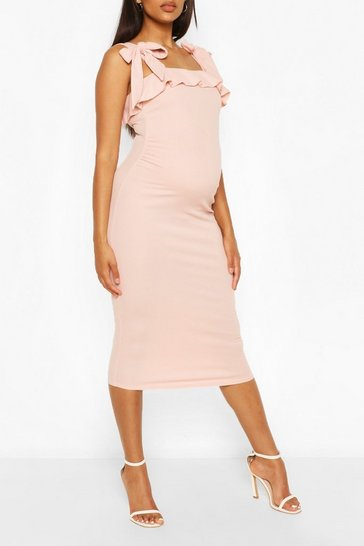 Nude Maternity Tie Shouder Ruffle Midi Dress