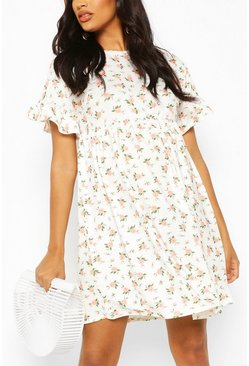 Cream Maternity Floral Print Smock Dress
