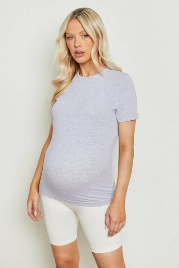 Grey marl Maternity Cotton T-Shirt