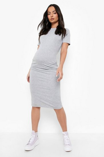 Grey marl Maternity Bodycon Mini Dress