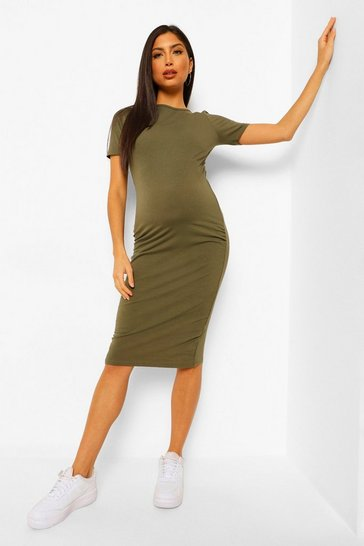 Khaki Maternity Bodycon Mini Dress
