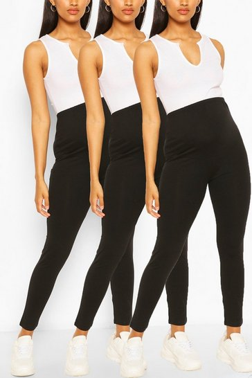 Black Maternity 3pk Over The Bump Legging