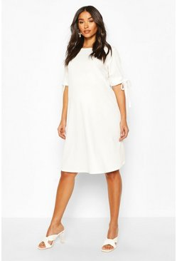 Cream Maternity Tie Sleeve Tunic Dress