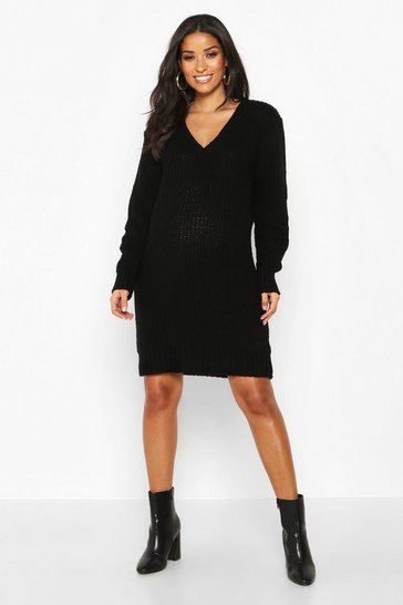 Black Maternity V Neck Jumper Dress