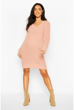 Dusky pink Maternity V Neck Sweater Dress