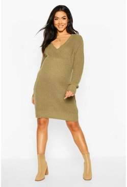 Khaki Maternity V Neck Jumper Dress