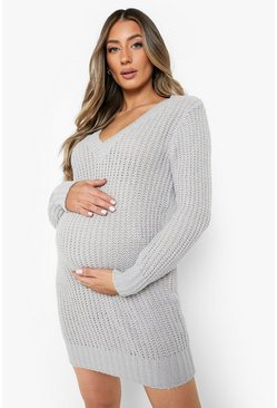 Light grey Maternity V Neck Sweater Dress