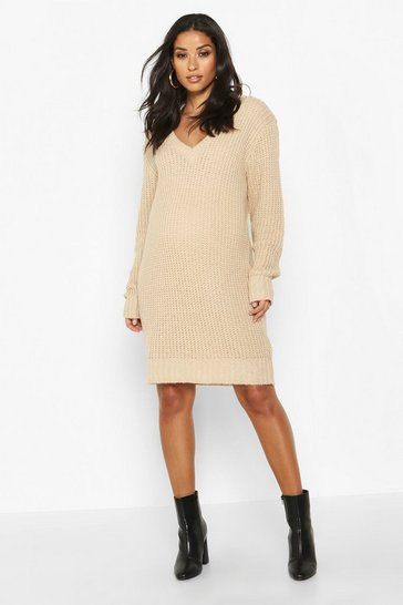 Womens Stone Maternity V Neck Jumper Dress