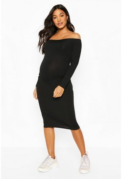 Black Maternity Off Shoulder Rib Midi Dress