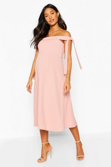 Dusky pink Maternity Tie Side Bradot Skater Dress