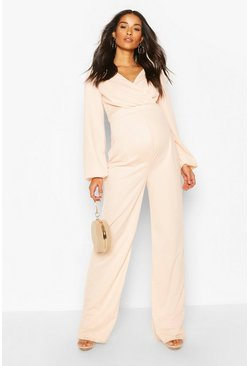 Blush Maternity Cross Over Wide Leg Jumpsuit