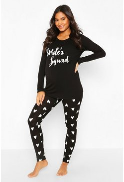 Black Maternity Bride Squad Heart PJ Trouser Set