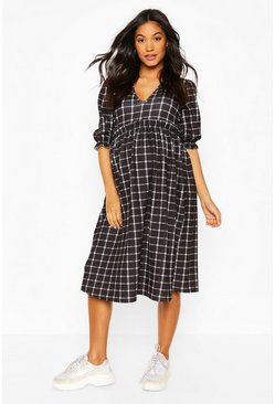 Black Maternity Check Midi Smock Dress
