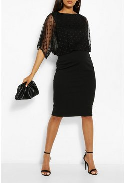 Black Maternity Dobby Mesh Overlay Midi Dress