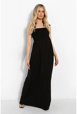 Black Maternity Sheering Tiered Maxi Dress