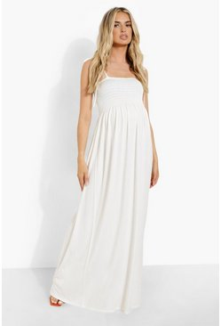 Cream Maternity Sheering Tiered Maxi Dress