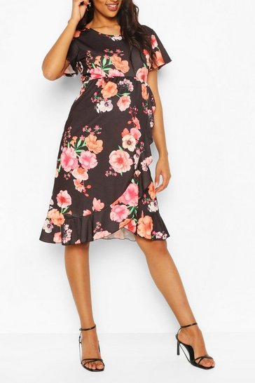 Black Maternity Floral Ruffle Wrap Dress
