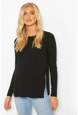 Black Maternity Ribbed Split Side Jumper