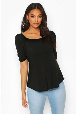 Black Maternity Sheering Puff Sleeve Smock Top