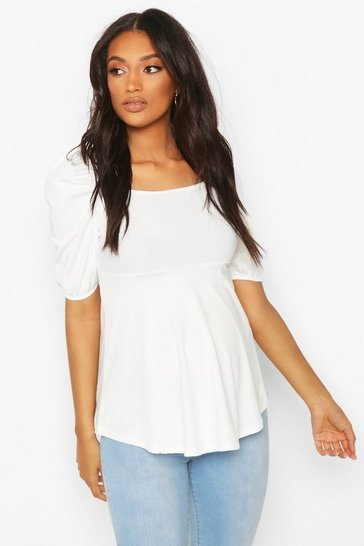 White Maternity Sheering Puff Sleeve Smock Top