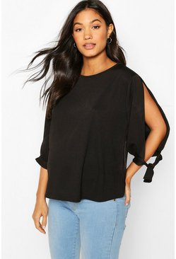 Black Maternity Cold Shoulder Tie Sleeve Top