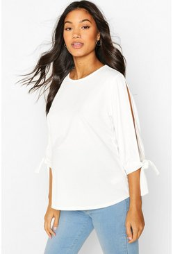 White Maternity Cold Shoulder Tie Sleeve Top