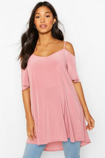 Rose Maternity Cold Shoulder Slinky Tunic Top