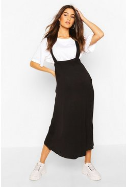Black Maternity Pinafore Midi Skirt