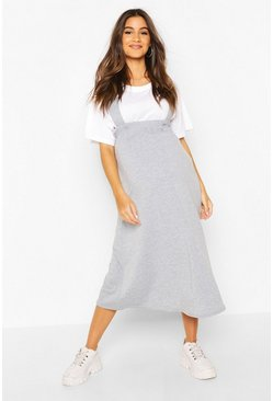Grey Maternity Pinafore Midi Skirt